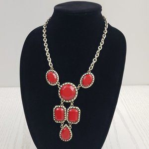Jewelry - Silver Tone Red Faceted Bead Statement Necklace